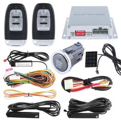 [Visit to Buy] Good quality 433.92MHZ PKE car alarm kit with remote engine start/stop and push button start stop, Touch password entry DC12V #Advertisement