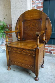 Antique English Carved Tiger Oak Monk S Bench Chair Chest Table Jacobean Ebay