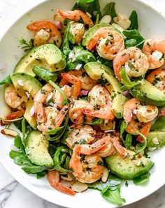 Keto Citrus Shrimp and Avocado Salad . Ingredients 1 pound mediumPan-Seared Citrus Shrimp 8 cups greens such as arugula spinach,… Shrimp Avocado Salad, Avocado Salad Recipes, Salad Recipes For Dinner, Dinner Salads, Easy Salads, Healthy Salad Recipes, Yummy Recipes, Free Recipes, Clean Food Recipes