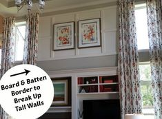 Another way of breaking up the huge two-story-tall walls. Board and Batten Border around Two-Story Family Room   hookedonhouses.net