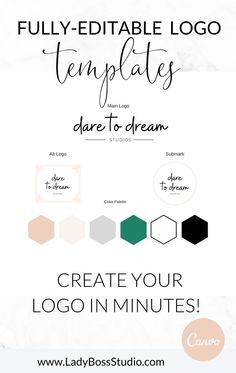 This contains: Fully Editable Logo Templates! Create your Logo in Minutes! Templates from Lady Boss Studio inc.'s shop! Branding Template, Logo Templates, Branding Design, Branding Ideas, Business Pages, Business Tips, Naming Your Business, Fresh Brand, Brand Board