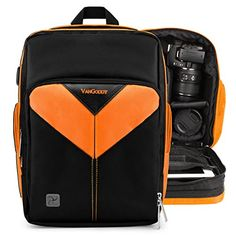 Introducing VanGoddy Sparta ORANGE BLACK Compact Backpack DSLR Camera  Tablet Case Bag for Nikon D800 D610 D600 D300 D7100 D7000. Great product and follow us for more updates!