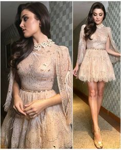 Cute Prom Dresses, Pretty Dresses, Formal Dresses, Engagement Photo Dress, Beige Dresses, Celebrity Outfits, Turkish Actors, Frocks, Surbhi Chandna