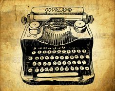 Vintage Typewriter Drawing Clipart Lineart by BackLaneArtist