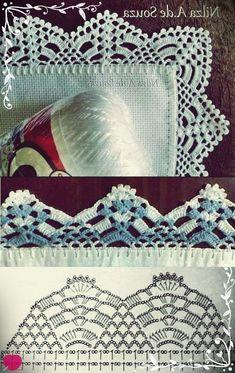 50 Ideas for crochet lace edging ganchillo Crochet Boarders, Crochet Edging Patterns, Crochet Lace Edging, Crochet Designs, Crochet Doilies, Crochet Hook Set, Crochet Chart, Thread Crochet, Diy Crochet