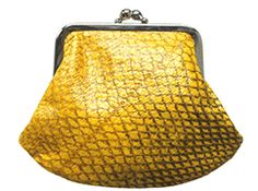 Summerish yellow purse! Small! Retro! Salmon Leather.