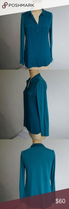 Splendid Two Tone Blouse Beautiful and super soft longsleeve two tone Blouse by Splendid. Has two pockets on each side and a small yet lovely collar. Self is 100% rayon and contrast is 50% Pima Cotton 50% modal. Is sized as a 14 but fits like a small.  A08 Splendid Tops