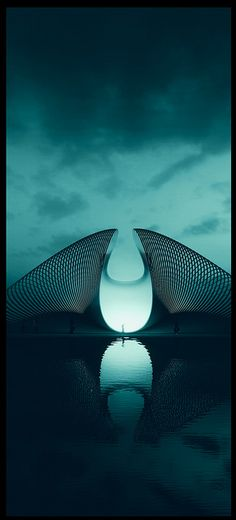 Idea for stage design, with a futuristic feel. Art Et Architecture, Futuristic Architecture, Amazing Architecture, Contemporary Architecture, Contemporary Building, Futuristic City, Chinese Architecture, Futuristic Design, Future Buildings