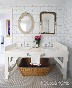 Charming White Bathroom | Designer: Anna Spiro | Photographer: Simon Kenny | #bathroomdesign #interiordesign #subwaytile