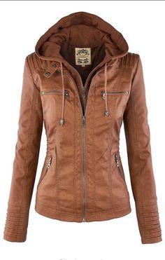 Removable Collar Zipper Womens Jacket Hoodie                                                                                                                                                                                 Más
