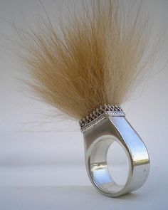 Katrina Kosturko. Hollow Form Ring, Sterling Silver, Dog Fur, Hollow Form Fabrication. (This looks so much like a ring I made years ago that I almost don't know what to say. Great minds think alike I guess)