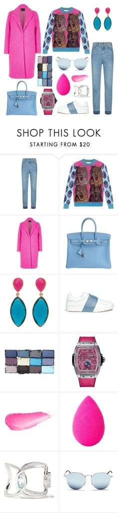 """""""They've got nails, I've got claws"""" by theodor44444 ❤ liked on Polyvore featuring Maje, Gucci, River Island, Hermès, Valentino, Hublot, beautyblender, Delfina Delettrez and Ray-Ban"""