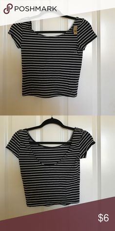 american eagle black and white striped crop top never worn with tags! striped black and white crop top from american eagle. American Eagle Outfitters Tops Crop Tops