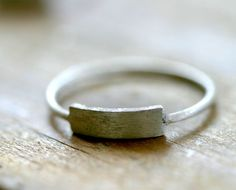 Modern silver rectangle ring. $38.00, via Etsy.
