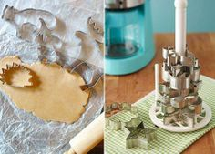 store cookie cutters stacked on a paper towel holder