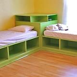 Corner unit for the twin storage bed- this can double as seating for older kiddoes and their friends!