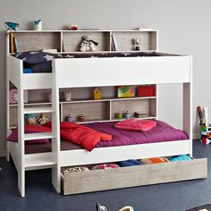 The Tam Tam bunk bed from Parisot has a simple clean style and a real feeling of continental elegance — like all of Parisot's fantastic furniture designs. The curving lines of the white frame are beautiful to look at — a really unique feature that you're sure to enjoy for many years. The bed comes with an option to add a full width drawer underneath for added storage (the drawer can't be used as a bed).