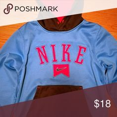 Sweatshirt Boys Youth Small Hooded Sweatshirt.  Turquoise, Navy & bright reddish Orange in color.  In excellent condition from pet and smoke free home. Nike Shirts & Tops Sweatshirts & Hoodies