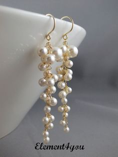 Bridal earrings Wedding earrings Pearl cluster by Element4you, $38.00