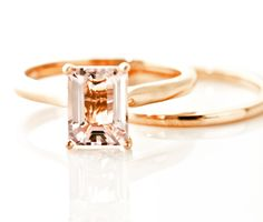 Morganite Engagement Ring & Wedding Band Emerald Cut Solitaire Rose Gold Wedding Set. $833.00, via Etsy.