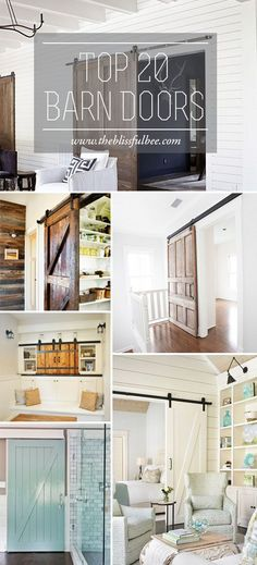 Top 20 Barn Doors - want one for my master bathroom so you don't have to open the door into the toilet!