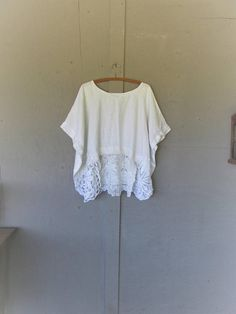 upcycled Linen tunic plus size clothing loose fit one size