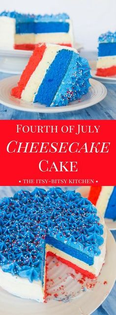 This Fourth of July cheesecake cake is a festive summer dessert, and is easier t., Holiday Tips, This Fourth of July cheesecake cake is a festive summer dessert, and is easier to make than you'd think! It& the perfect end to your July . Patriotic Desserts, 4th Of July Desserts, Köstliche Desserts, Holiday Desserts, Holiday Treats, Delicious Desserts, Holiday Recipes, Dessert Recipes, Patriotic Recipe