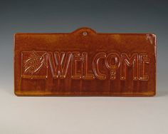 Welcome Pinecone Tile - Arts & Crafts Mission Craftsman Style on Etsy, $28.00