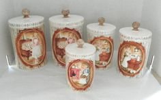 Set 5 Vintage Canisters Sears Roebuck & Co. 1978 made in Japan Pioneer Girls /M1 #SearsRoebuckCo