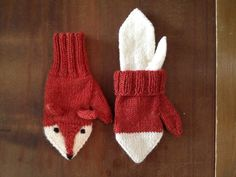 Lined fox mittens knit by MissKnit on ravelry.
