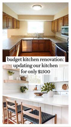 Diy Kitchen Remodel, Diy Kitchen Cabinets, Kitchen Redo, Kitchen Furniture, New Kitchen, Dark Cabinets, Diy Furniture, Updated Kitchen, Island Kitchen