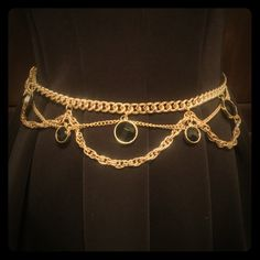 BEBE Gold Chain Belt Great piece of jewelry to add to any dress or jeans to acce. BEBE Gold Chain Belt Great piece of jewelry to add to any dress or jeans to accessorize your outfit. Chain Belts, Gold Chains, Bracelets, Outfit, Jeans, Accessories, Dress, Jewelry, Fashion