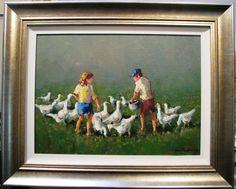 Gian-Piero Garizio s Australian original acrylic titled Feeding the Geese . Northern Italy, Have Fun, Africa, The Originals, Painting, Art, Art Background, Painting Art, Kunst