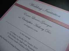 Pink and White classic Wedding invitation with ribbon