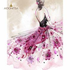 Print με strass 40x50. Από την Alphab2b.gr Flower Dresses, Decoupage, Ballet Skirt, Formal Dresses, Products, Fashion, Dresses For Formal, Moda, Floral Dresses