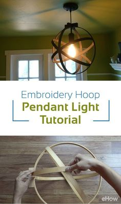 DIY pendant lights How to make an industrial-style orb light pendant using embroidery/quilting hoops and a pendant light kit. Diy Light Fixtures, Farmhouse Light Fixtures, Farmhouse Lighting, Orb Light Fixture, Bedroom Light Fixtures, Chandelier Makeover, Orb Chandelier, Light Fixture Makeover, Hula Hoop Chandelier