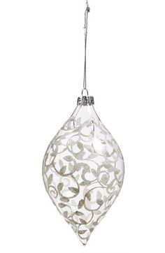 elegant blown-glass droplet that catches and reflects the lights of your tree.
