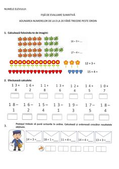 Adunarea si Scaderea nr.0-20 fara trecere peste ordin online worksheet for Clasa pregatitoare. You can do the exercises online or download the worksheet as pdf. School Subjects, Google Classroom, Drawing For Kids, Web Browser, You Can Do, Colorful Backgrounds, Worksheets, Kindergarten, Crafts For Kids