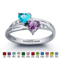 JewelOra Personalized Engraved Birthstone Ring Heart 925 Sterling Silver Cubic Zirconia Ring -- Want to know more, visit