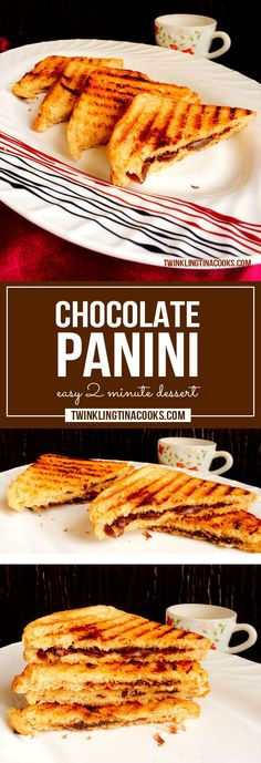 This chocolate panini dessert is made from warm melted gooey chocolate sandwiched between buttery bread slices and topped with a sprinkle of powdered sugar.