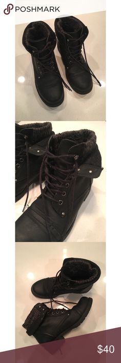 Call It Spring women's boots Call It Spring women's black boots, size 8.5. Option to fold down top to display layered look. Worn a lot, but in great condition. Warm and perfect for winter, easy to clean. Call It Spring Shoes Combat & Moto Boots