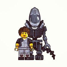 Alien vs Ripley.. __________________________ #design #illustration #draw #sketch #scary #alien #aliens #ripley #vector #movie #lego #franchise #art #icon #linework #dribbble #legos #cinema #line #future #graphicdesign #digitalart #pirategraphic #syfy #vector #icon #iconaday by almigor