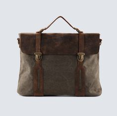 Unisex Superior Genuine Cow Leather Canvas Bag / by leeloongstudio