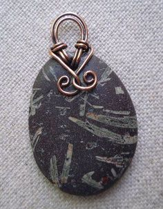 Basalt Stone Handmade Pendant with Copper Wire Bail
