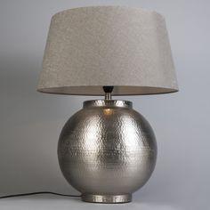 Lámpara de mesa MADEIRA L níquel con pantalla 50cm arcilla  #lamparas #decoracion #iluminacion