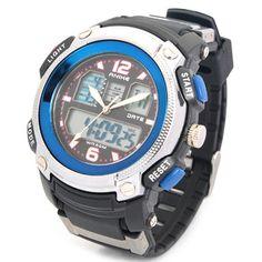 SPORTS DIVING DUAL TIME DISPLAY WRIST WATCH W/ ALARM CLOCK / STOPWATCH - BLACK + BLUE