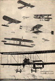 Vintage Chart of Early Types of Airplanes