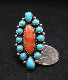 Native American Turquoise Spiny Oyster Cluster Ring sz8, La Rose Ganadonegro