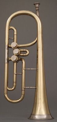Front view of NMM 6861.  Cornet in B-flat, Prussia, ca. 1850/60.