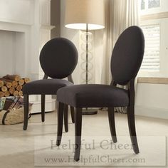 INSPIRE Q Paulina Dark Grey Fabric Round Back Dining Chair Set of 2 - at - 0